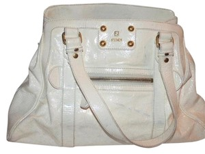 Fendi Dressy Or Casual Excellent Condition Xl Gold Hardware Comes With Dust Satchel in white crinkled patent leather