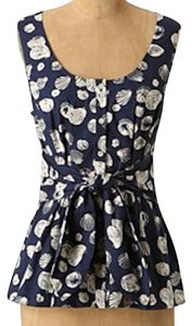 Anthropologie Seashells Edme Esyllte Tie Waist Top Navy