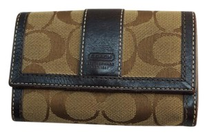 Coach Coach Brown Canvas Logo Keychain Wallet Small Change Purse