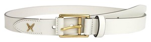 Gucci New Gucci Leather Belt Gold Buckle Feather 95/38 375182 9022