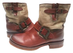 Frye Short Canvas Soft Vintage Leather Brass Hardware Style 77503 Cognac Boots