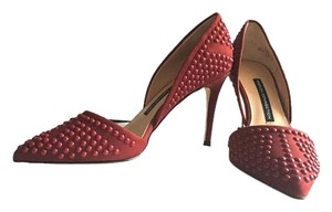 French Connection Studded Leather D'orsay Heels Burgundy Pumps