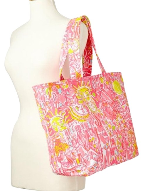 Item - Palm Beach - Kinis In The Keys Pink White Multi Canvas Tote
