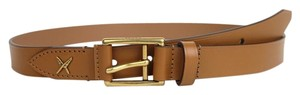 Gucci New Gucci Leather Belt Gold Buckle Feather 85/34 375182 2613