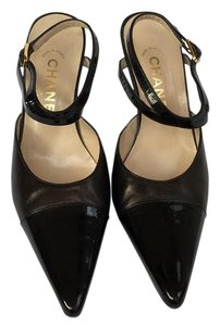 Chanel Formal Patent Leather Ankle Strap Black Pumps
