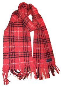 Burberry Burberry Red Checked Fringed Scarf
