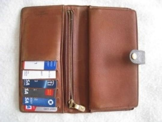 Louis Vuitton LOUIS VUITTON CHECKBOOK CREDIT CARD LONG CLUTCH WALLET W/FRENCH KISS LOCK COIN POCKET