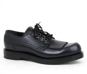 Gucci New Gucci Mens Leather Fringed Brogue Lace-up Shoes Dark Blue Size 8.5 / Us 9.5 358271 4009