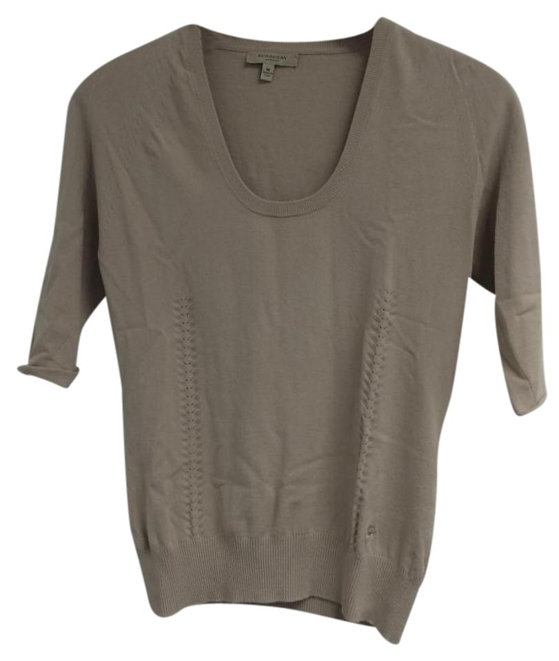 6727a6eddcd989 Burberry Taupe Short Sleeve Knit Blouse Size 8 (M) - Tradesy