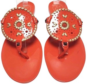 Jack Rogers High-gloss Finish Synthetic Orange Sandals