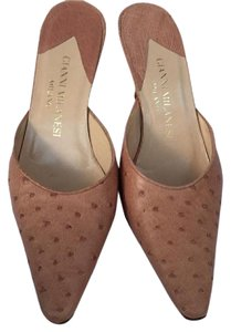 Gianni Milanesi Osterich Skin Vintage Leather pink Mules