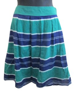 Lands' End Pleated Striped A-line Nautical Summer Skirt Green & Blue