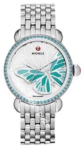 Michele NWT Garden Party Topaz Turquoise, Diamond Butterfly Watch MW05D37A1998