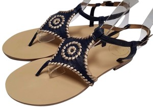 Jack Rogers Classic Leather Flat Thong Ankle Straps Slip On Whipstitch Trim Midnight Platinum Sandals