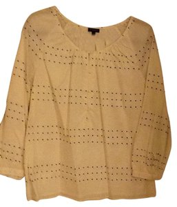 Talbots Peasant Style Fabric Top Cream with black dots