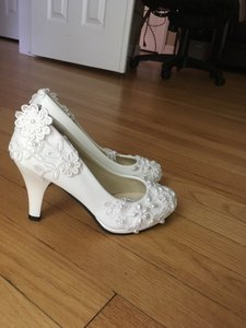 Ivory Leather Wedding Shoes With Lace Application And Beading Wedding Shoes