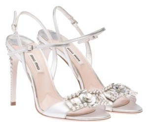 Miu Miu Swarowski Stiletto Studded Evening Sandal Brand Silver ( nappa silk ) Formal