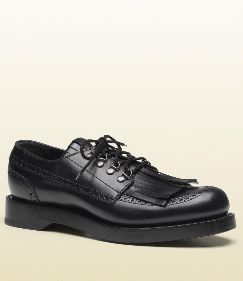 f69a39b252b Gucci Black Men s Leather Fringed Brogue Lace-up 8   Us 9 358271 Shoes  Image ...