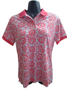 Lands' End Polo Floral Summer New Casual Top Pink & Blue