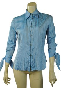 Roberto Cavalli Bow Cuff Romantic Italian Button Down Shirt blue