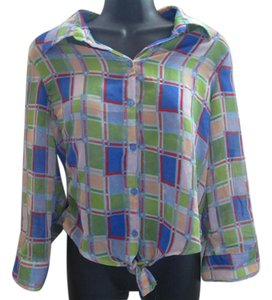 Passport Plaid Semi Sheer Chiffon Top Multicolored