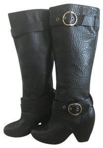 Lucky Brand Tall Leather Buckle black Boots