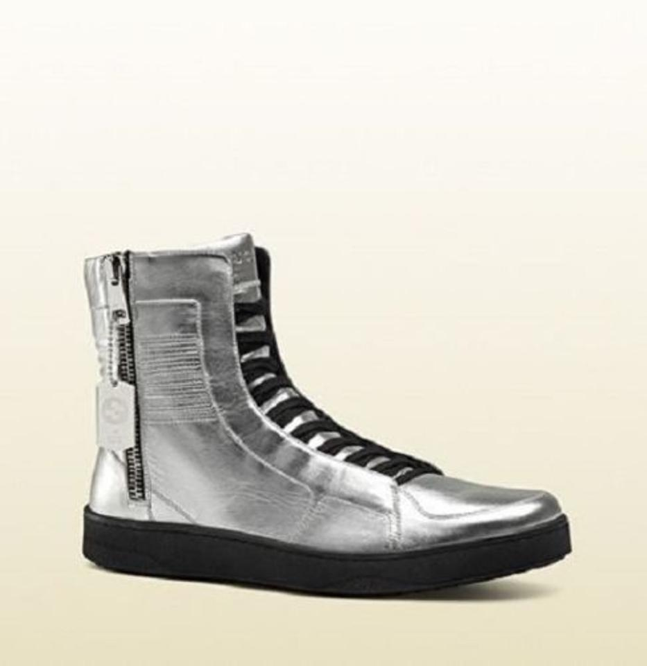 9e0f39f2d Gucci Silver Men's High-top Limited Edition 9 G/Us 9.5 376191 8163 Shoes.  123456789