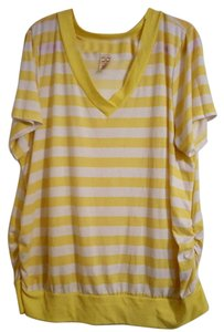 Faded Glory Summer Plus-size V-neck T Shirt Yellow & White Striped