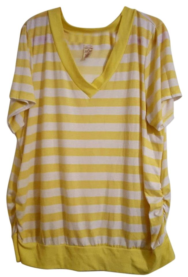 5f57d0baf9acb Faded Glory Summer Plus-size V-neck T Shirt Yellow   White Striped Image ...