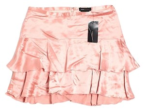 BCBGMAXAZRIA Silk Tiered Mini Skirt Coral