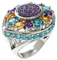 "Other Violet Drusy 5.04ct Sterling ""Statement"" Ring - Size 9"