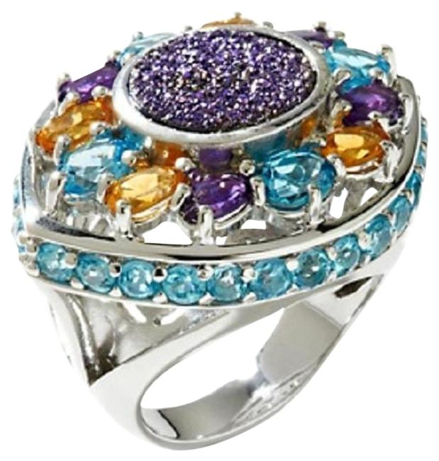"""Multicolor Violet Drusy 5.04ct Sterling """"Statement"""" - Size 9 Ring Multicolor Violet Drusy 5.04ct Sterling """"Statement"""" - Size 9 Ring Image 1"""