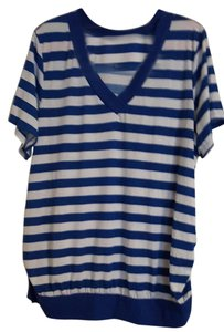 Faded Glory Summer V-neck Plus-size T Shirt Blue & White Striped