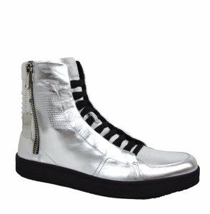 Gucci Silver Men's High-top Sneaker Limited Edition 9.5 G/Us 10 376191 8163 Shoes