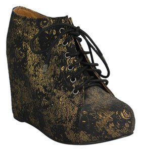 Jeffrey Campbell Embroidered Wedge Black/ gold Boots
