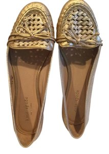 Kate Spade White Air Hole Weave Gold Flats