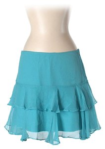 Walter by Walter Baker Silk Tiered Ruffle Mini Skirt Blue
