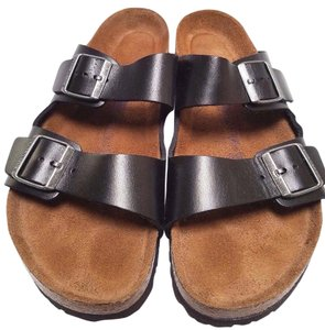 Birkenstock Oiled-leather Suede-covered Soft Footbed Cork And Latex Buckle Closure Black Sandals