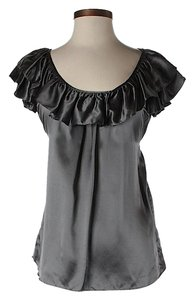 7 For All Mankind Silk Ruffle Top Grey