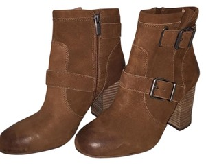 Vince Camuto Suede Stacked Heel Brown Boots