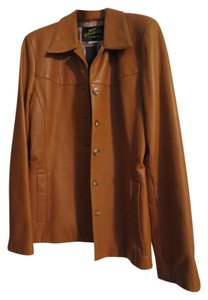 Jolly Jumbuck Leather caramel saddle brown Leather Jacket