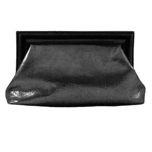 Miss MAK Leather Evening Patent Pewter - Grey Clutch