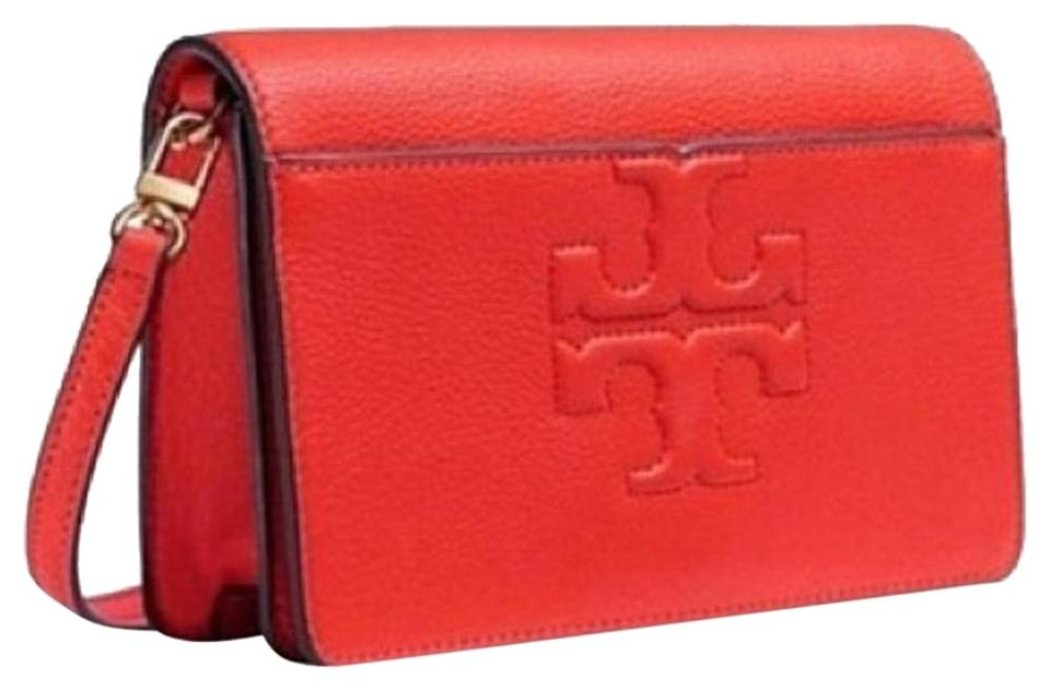22b2a2f0e554 Tory Burch T Bombe T-small Poppy Red Leather Cross Body Bag - Tradesy