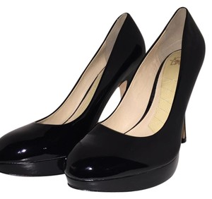 Joan & David Platform Party Black Patent Pumps