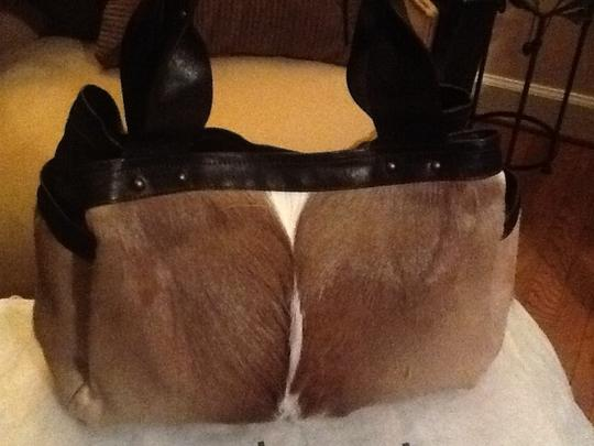 Diane Gail Fur Satchel in Brown with white and light brown streaks Image 1