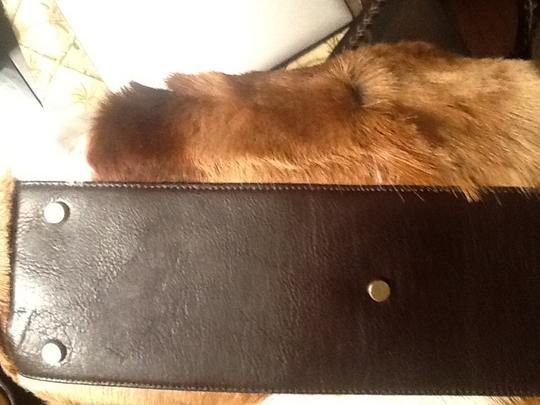 Diane Gail Fur Satchel in Brown with white and light brown streaks Image 11