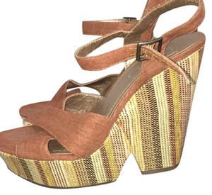 BCBG Paris Tan gold dusty red & brown Wedges