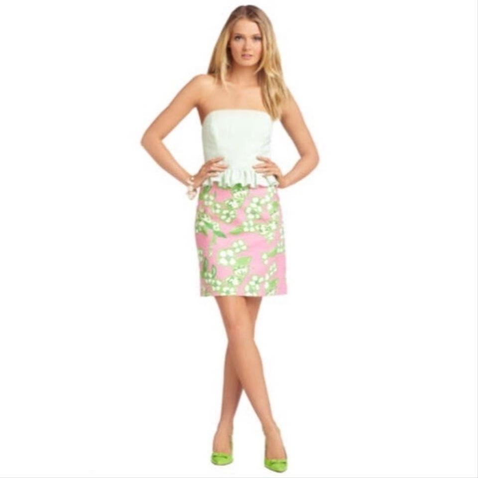 Lilly Pulitzer Pink and Green Tootie Lowe Peplum Above Knee Short ...