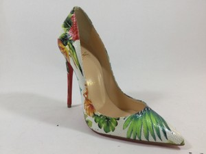 Christian Louboutin Floral Leather White Pumps