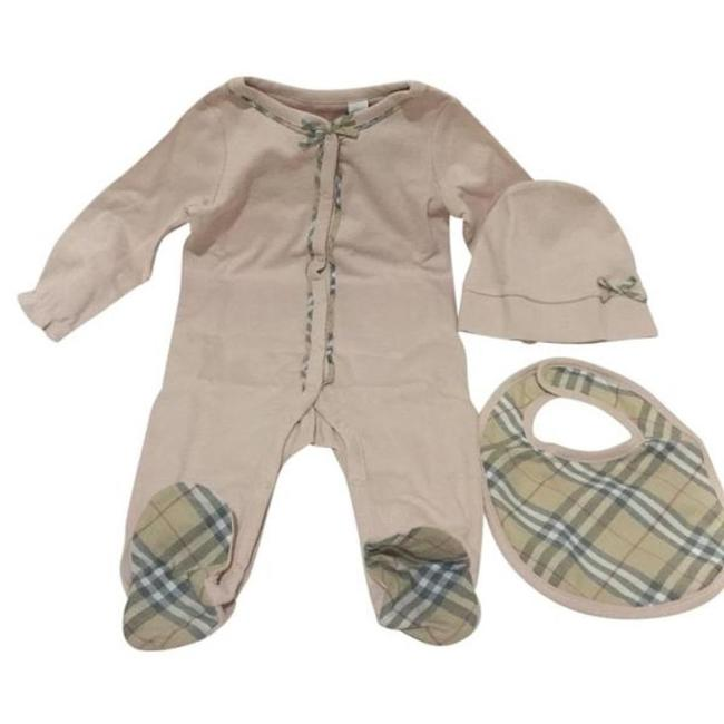 Item - Pink with Check Print Girls Footie Hat and Bib Set 12 Months Long Cocktail Dress Size OS (one size)